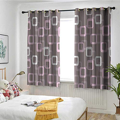 MaryMunger Geometric Blackout Curtain Retro Square Shapes Pattern Oval Corners Soft Toned Vintage Inspired Simple Stylish W 63
