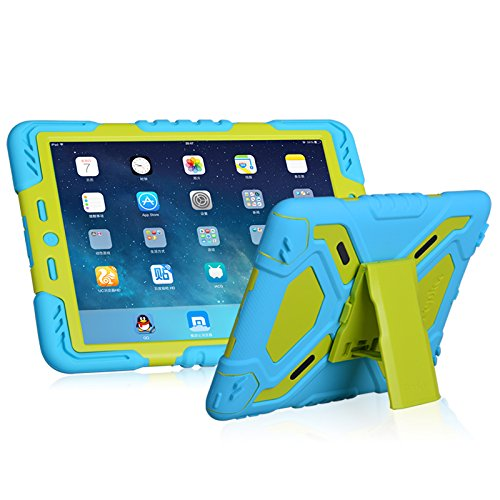 Hot Newest Pepkoo Ipad 6 / Ipad Air 2 Case Silicone Plastic Kid Proof Extreme Duty Dual Protective Back Cover with Kickstand for Ipad 6 / Ipad Air 2 - Rainproof Sandproof Dust-proof Shockproof (Blue/G