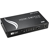 MT-VIKI 5 Ports to 1 Port 5-In 1-Out Remote Infrared Switch Mini Metal Box HDMI Splitter Amplifier Switch MT-SW501-M