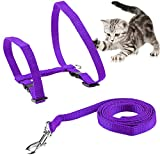 ONSON Cat Harness, Adjustable Harness Nylon Strap Collar with Leash, Cat Leash and Harness Set, for Cat and Small Pet Walking (Purple)