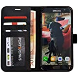 Abacus24-7 S7 EDGE Case, Galaxy S7 Edge Wallet Case Folio, Leather Flip Cover and Stand for Galaxy S7 Edge Phone, Black