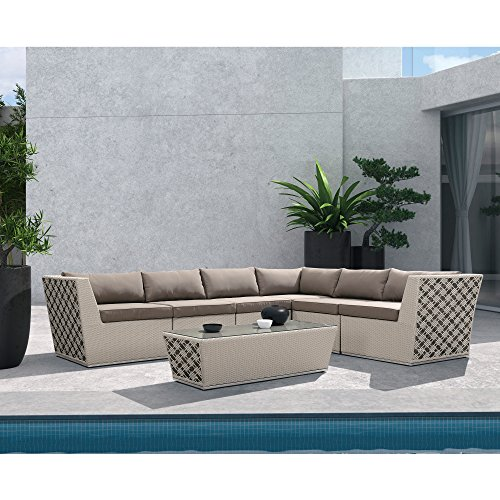 Armen Living 7 Piece Contemporary Outdoor Waikiki Outdoor Wicker Sectional Set with Taupe Cushions Review