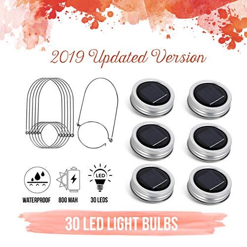 [Upgraded] Solar Mason Jar Lid Lights 30 LEDs - 800mAh Battery   Outdoor Decor, Patio Garden Decor, Solar Lantern Table Light   6-Pack Hangers and Lids String Fairy Firefly Lights/No Jars