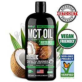 MCT Oil Keto Supplement – 100% C8 & C10 from Non-GMO Coconut – Best for Keto Shake, Coffee, Smoothies & Dressing – Keto Oil for Paleo & Keto Diet Support, Weight Loss, Brain & Energy Boost