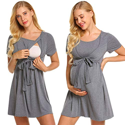 Ekouaer Women's Maternity Nursing Top Short Sleeve Ultra Soft Breastfeeding Clothes (L, Grey ()