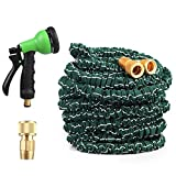 Garden Hose - Aukee 100ft Expandable Expanding Flexible Garden Hoses Pipe with Brass Connectors 8 Pattern Spray Nozzle Improved