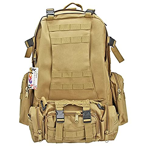 Hugmania 55L Military Assault Tactical Backpack 3 Molle Bags Pack Combat Rucksack Gear with 3L Water Bladder/ Boonie Cap/ Survival Multitool Kit for Camping, Hiking, Trekking, Climbing, Travel - Modular Knife Sheath
