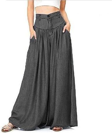 S-5XL Women Plain Elastic Waist Harem Solid Pants Wide Leg Baggy Trouser Palazzo