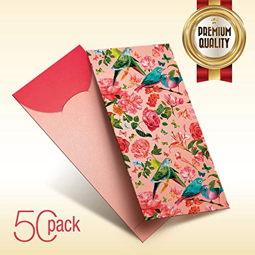 50 Pack - Trendy Chinese New Year Traditional Red Packet/Lai See/Hong Bao/Lucky Money/Red Envelope for Wedding Graduation Lunar New Year Spring Festival Birthday Baby Gift Pocket (RP-069) ()