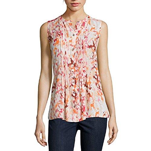 Liz Claiborne Sleeveless Button-Front Pintuck Blouse Size PXL