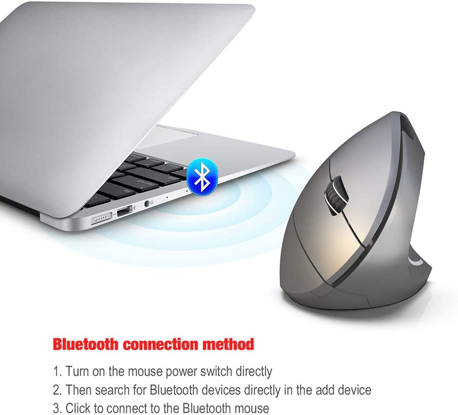 Notebook,Black XuangXin Wireless Vertical Mouse 6 Buttons Compatible Laptop 2.4G Wireless Ergonomic Optical Mouse with 3 Adjustable 800//1600 //2400 DPI Desktop PC