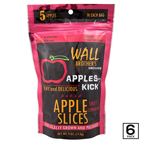 Baked Apple Slices by Wall Brother's Orchards – Best Apples Slices with A Kick, Four Bold New Flavors, Chewy Delicious & Sweet, Farm Fresh, Non-GMO, Gluten Free - Sweet Cinnamon, 4oz (6 Pack) Cinnamon Apple Slices