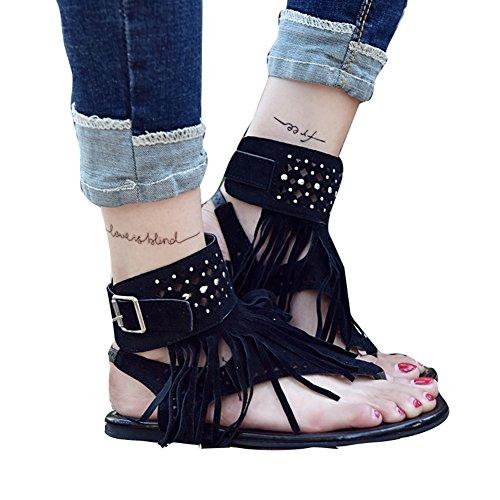 Señoras De Las Mujeres Summer Boho Sandals Zip Zapatos De Peep-Toe con Borlas Zapatos Chanclas Verano 2018 Negro