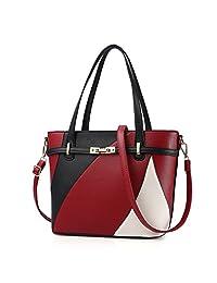 Nevenka Top Handle Handbag Purse High Capacity PU Leather Crossbady for Women Girl (Black)