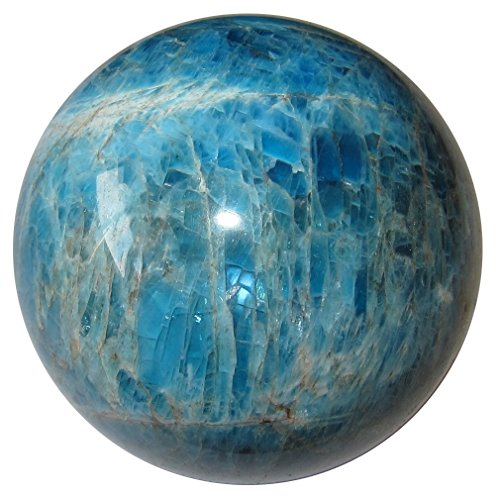 Apatite Ball 79 Best Color Blue Eye Ice Crystal Stunning Positive Energy Sphere Stone Rare 2.4'' by SatinCrystals