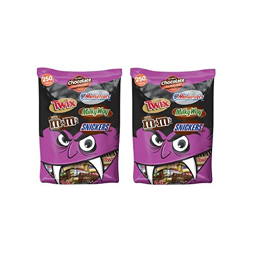 MARS Chocolate Favorites Halloween Candy Bars Variety Assorted Mix Bag (TWIX, MILKY WAY, SNICKERS, 3 MUSKETEERS, M&M'S Brands), 96.2 oz 250 Pieces - 2 Pack