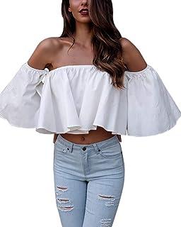 Frecoccialo T-Shirt Femme Sexy Epaule Dénudée Chic Eté Col Bateau à Volant  Froufrou Manches c48e9e85206