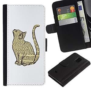 iBinBang / Flip Funda de Cuero Case Cover - Gato libro Dibujo inteligente Minimalista Blanca - Samsung Galaxy S5 Mini, SM-G800, NOT S5 REGULAR!