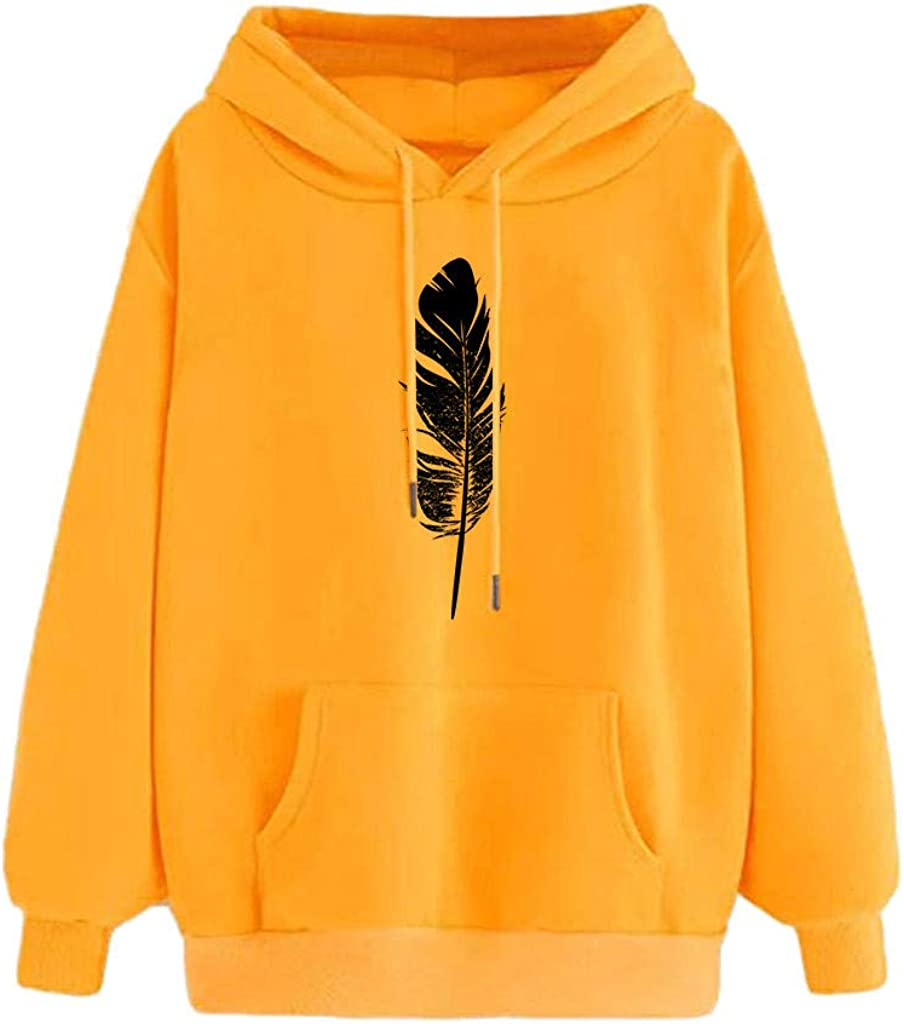 Qvwanle Women Fashion Autumn Casual Feather Print Long Sleeve Loose Hooded Casual Pullover Top Blouse