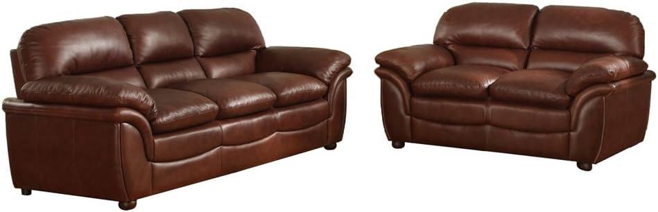 Baxton Studio Redding Cognac Leather Modern Sofa Set, Large, Brown