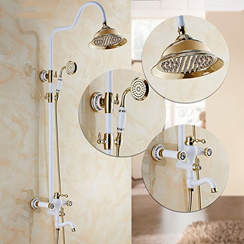 I GFEI Shower set with full copper faucet   white golden bath bathroom shower shower shower faucet   waterfall shower,I