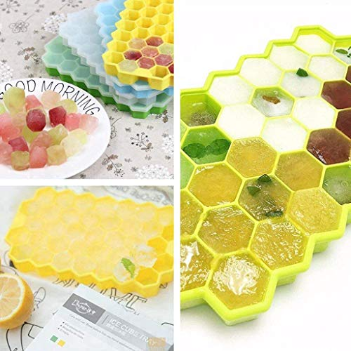 (Wffo Honeycomb Shape Ice Cube Maker 3Pcs Ice Tray Ice Cube Mold Storage Containers Ideal for Whiskey, Cocktails, Soups, Baby Food and Frozen Treats)
