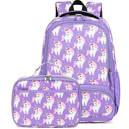 CAMTOP Backpack for Kids Girls Preschool Backpack with Lunch Box Toddler Kindergarten School Bag Set (Purple)
