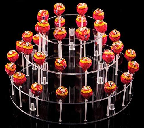 YestBuy Round 3 Tier Round Acrylic Cake Pop Stand(9 Rods) (Cake Pop Stand Wilton)