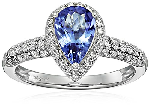 14k White Gold Tanzanite and Diamond Pear-Shape Engagement Ring (1/2cttw, H-I Color, I2-I3 Clarity) Size 7
