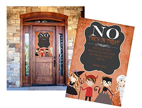 (Silly Goose Gifts No Trick Or Treat ~ Please Do Not Knock On The Door Out of Treats Halloween Candy Decoration Poster Banner )