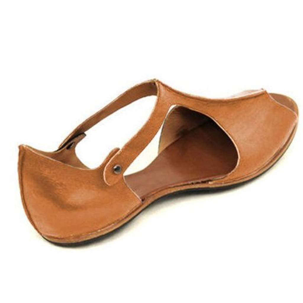 Peep Toe Womens Summer Slip On Mule Slingback Peep Toe Flat Sandal Adjustable Ankle Buckle Shoes