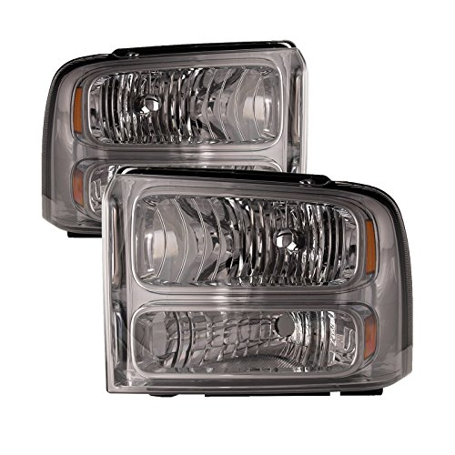 HEADLIGHTSDEPOT Chrome Housing Halogen Headlights Compatible with Ford Excursion F-250 Super Duty F-350 F-450 F-550 Includes Left Driver and Right Passenger Side Headlamps