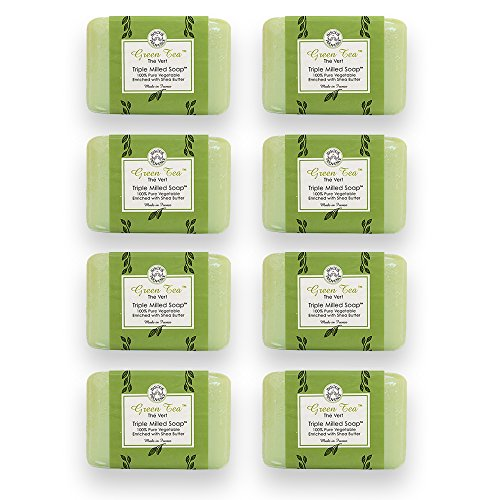 Bisous de Provence French Soap, Green Tea The Vert Triple Milled Soap enriched with Shea Butter, 100% Pure Vegetable Based, Made in France, Paraben Free 8 x 7 oz (200g) Value Pack