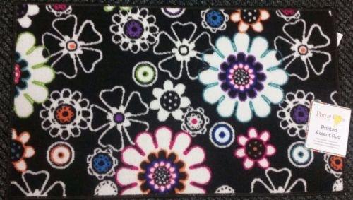 The Pecan Man Flowers onブラック背景、Printedキッチンラグ( Non Skid Back、1pcs 18 x 30
