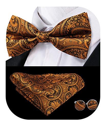 Dubulle Dark Orange Paisely Mens Silk Pre tied Bowtie and Handkerchief Cufflinks Set