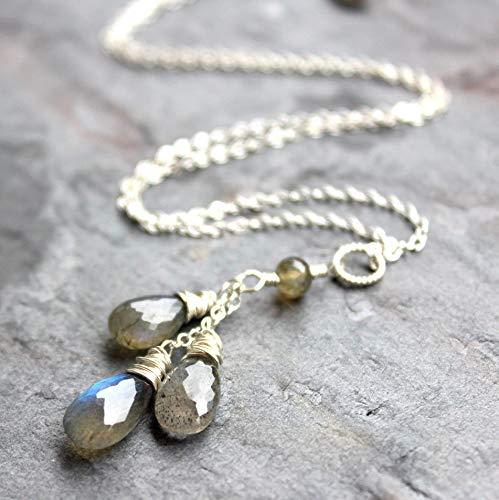 (Labradorite Necklace Sterling Silver Gray Gemstone Teardrop Trio Pendant - Pick your Length)