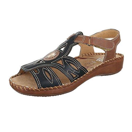 Ital-Design Sandalias de Vestir de Material Sintético Para Mujer negro y marrón