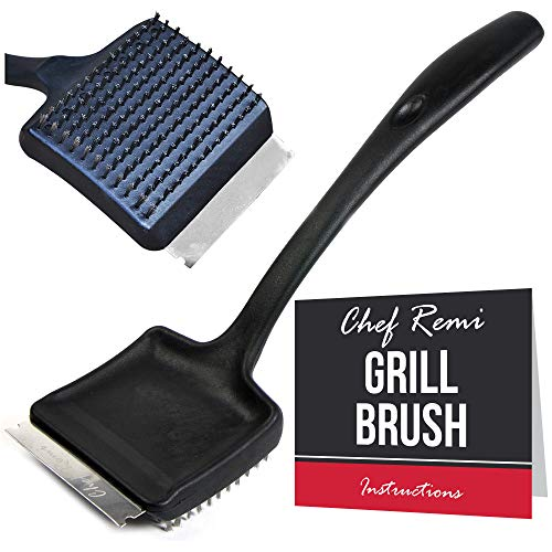 (Grill Brush And Scraper - Long 14 Inch Handle, Sharp Stainless Steel Blade, Strong BBQ Wire Bristles - Makes A Great Gift For Fathers, Dad, Grandad, Pop Or Papa - Lifetime Manufacturers Warranty)