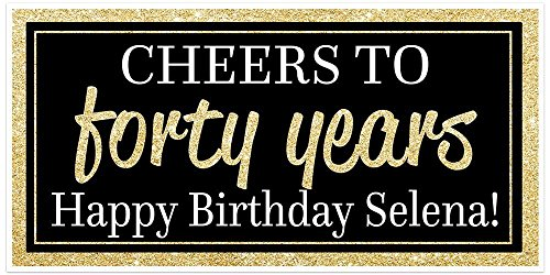 Cheers to 40 Years Birthday Banner - Black and Gold - Party Backdrop Decoration