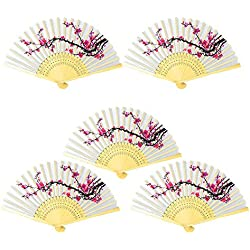 Onepine 5pcs Folding Fans Handheld Delicate Cherry Blossom Design Silk Folding Fan Bamboo Folded Fan Girls, Ladies, Church Wedding Gift, Party Favors, DIY Decoration