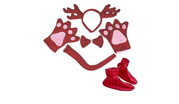 Rojo reno diadema pajarita cola guantes zapatos Juego de disfraz ...
