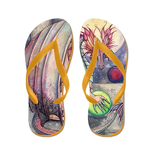 Cafepress Dragons Perch - Chanclas, Sandalias Thong Divertidas, Sandalias De Playa Naranja