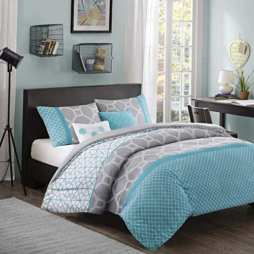 Kaputar Modern Blue Aqua Teal Grey Chevron Stripe Sporty Soft Comforter Pillow Set New | Model CMFRTRSTS - 3145 | California King