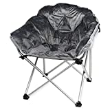 Soft and Comfortable Fully Padded with Deep-set Folding Faux Club Chair, Grey