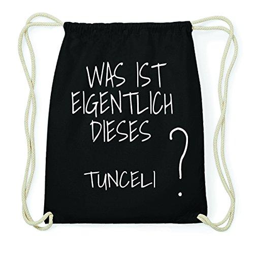 JOllify TUNCELI Hipster Turnbeutel Tasche Rucksack aus Baumwolle - Farbe: schwarz Design: Was ist eigentlich kPPaVqk