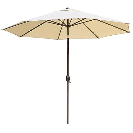 Abba Patio 11 Feet Outdoor Market Umbrella With Push Button Tilt And Crank,  8