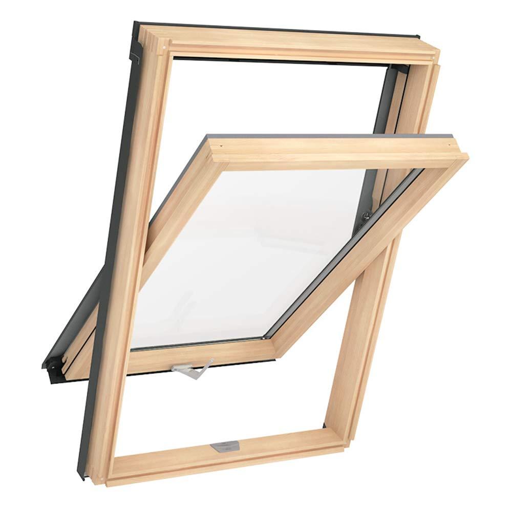 55 x 78 cm Solstro DPX B500 Dachfenster mit schmalem Rahmen Kiefernholz kombiniert mit Universal-Eindeckrahmen C2A