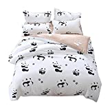 Ttmall 3-pieces Full Queen Size Microfiber Duvet Cover Set, White and Black Panda Animal Patterns Design Prints,Without Comforter (Full/Queen, (1Duvet Cover+2Pillowcases)#02)