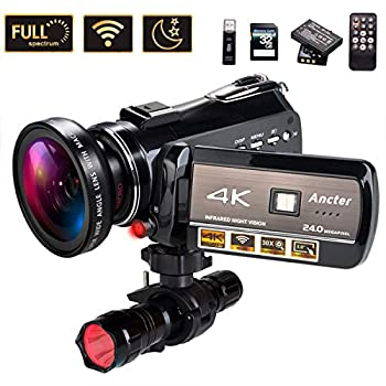 Image of 4K Wifi Full Spectrum Camcorders, Ultra HD Infrared Night Vision Paranormal Investigation Video Camera with 60fps 24MP 30X Digital Zoom - Ghost Hunting Camera(with 2 batteries, 32GB SD card included)
