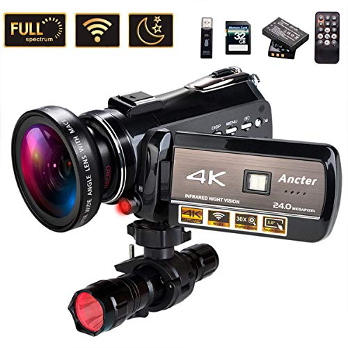 4K Wifi Full Spectrum Camcorders, Ultra HD Infrared Night Vision Paranormal Investigation Video Camera with 60fps 24MP 30X Digital Zoom - Ghost Hunting Camera(with 2 batteries, 32GB SD card included) (Best Infrared Camera For Ufo)